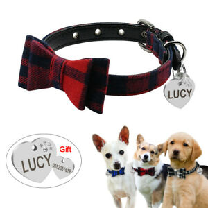 Personalised Bow Tie Small Dog Puppy Pet Cat Collars Soft Padded & Engraved Tag