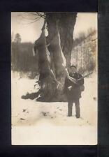 1910 HUNTER WITH RIFLE & 2 DEER Real Photo Postcard RPPC