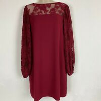 White House Black Market Womens size 6 Red Burgundy Lace Long Sleeve Dress WHBM