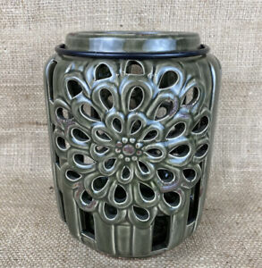 Green Rustic Ceramic Cutout Cylinder Outdoor Candle Holder Lantern