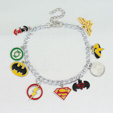DC Justice League Silver Plated Charm Bracelet Superman Batman Robin Flash Gift