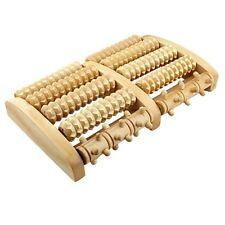 Wooden Foot Roller DELUXE with REFLEXOLOGY FOOT CHART w/ Five Rows of Rollers!
