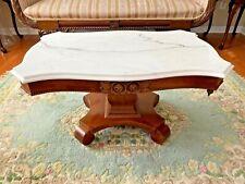 Vintage Mahogany Italian Marble Top Coffee Table