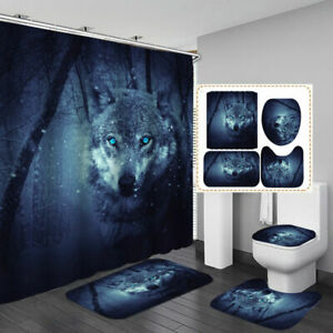 Snow Forest Wolf Door Bath Mat Toilet Cover Rugs Shower Curtain Bathroom Decor