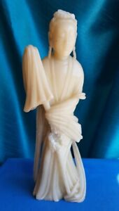 Very Large Soapstone Chinese Carved Old Guan Yin With Umbrella Damaged 41cm