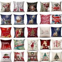 "18"" Christmas Cushion Cover Santa Claus Pattern Square Pillow Case dog Sofa Car"