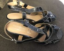 FOOTGLOVE M & S Black Patent Leather Wedge Wide Fit Sandal UK 4 EUR 37