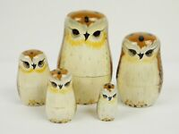"""Russian Nesting Dolls Owls Set 5 pieces 4.5"""" Hand Painted Brown White Black"""