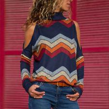 DE Damen Strickpullover Sweater Sweatshirt Langarmshirt Oberteil Schulterfrei