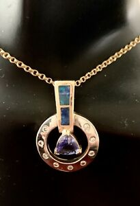 14k Yellow And Gold diamond,tanzanite &black Opals Pendant
