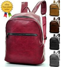 Backpack Man Woman Leather Zipper Big Work Port PC Travel Casual Spacious