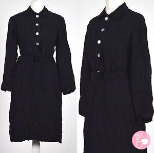 BLACK, BUTTON DETAIL, BELTED 1940s VINTAGE LANDGIRL DRESS 12