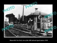 OLD LARGE HISTORIC PHOTO OF MANORVILLE NEW YORK THE RAILROAD MR STATION c1910