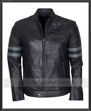 Mens Retro Biker Genuine Black Fashion Designer Leather Jacket