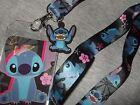 Disney Lilo And Stitch Space Alien Dog Flower ID Card Badge Holder Lanyard charm