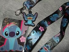 Disney Lilo & Stitch Space Alien Dog Flower ID Card Pin Holder Lanyard And charm