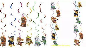 Paw Patrol Themed Happy Birthday Party Hanging Swirl Banner Decorations Set X 6