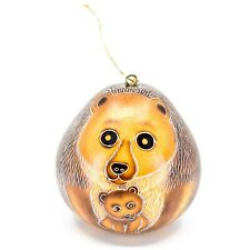 Handcrafted Carved Gourd Art Momma Bear w Cub Animal Ornament Made in Peru