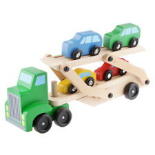 Wooden Car Transporter & 4 Push-Along Vehicles Children Wood Wagon Truck Toy