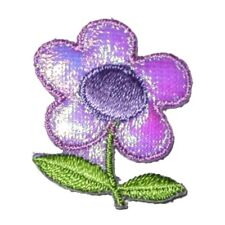 IRON ON PATCH APPLIQUE - FLOWERS PURPLE SPARKLE