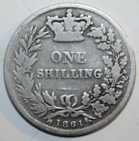 British One Shilling Coin 1861 Silver 500 KM# 734.1 Britain Queen Victoria UK 1