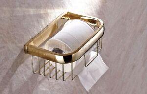 Gold Brass Toilet Paper Roll Holder Bathroom Cosmetic Shelf Storage/Rack fba532