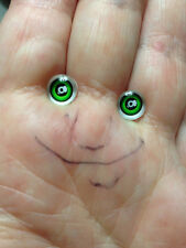 M00710 MOREZMORE Glass Eyes Iris 6mm GREEN with Glare Spot Flat Back Doll DSI