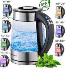 Edelstahl Glas Wasserkocher mit Temperatureinstellung 2.200 Watt LED Beleuchtung