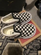 Vans Toddlers Checkerboard Slip-On Size 5 Black/Off White/ White