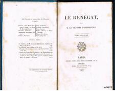 ARLINCOURT Le renègat Béchet 1822 originale littéraure romantique