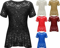 Womens Plus Peplum Lace Sequin Party Top Short Sleeve Shiny Size 14-28
