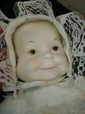 """Vintage bisque 3 three face porcelain doll happy smiling crying sleeping 21"""""""