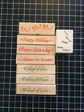 Lot Of 8 Wood Mounted Rubber Stamps by Hero Arts Christmas Woods Joy Holidays