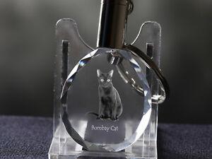 Bombay Cat, Cat Crystal Round Keyring, High Quality, Crystal Animals UK