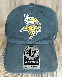 Minnesota Vikings 47' Black Clean Up Adjustable On Field Cotton Hat Dad Cap