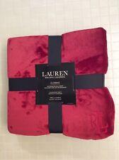 NEW Ralph Lauren TWIN/OVERSIZE THROW Classic Micromink Blanket Dark Red 66 X 90