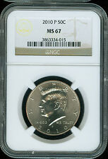 2010-P KENNEDY HALF DOLLAR NGC MS 67 2ND FINEST GRADE   .