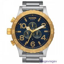 Nixon Watch 51-30 New Chrono Men A083-1922 Gold Blue-Sunray A0831922 NWT box