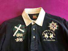 100 % Original La Martina Herren Langarm Polo Hemd, schwarz, Größe M