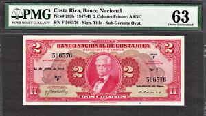 Costa Rica 2 Colones 1947 Pick-203b Choice UNC PMG 63