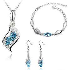 Austrian Crystal Silver Bracelet Drop Earrings Pendant Necklace Jewelry Set P25