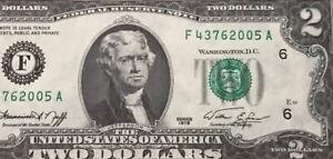 1976 $2 TWO DOLLAR BILL ( Atlanta F ) UNCIRCULATED