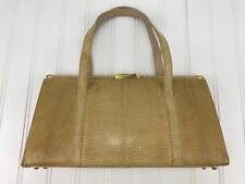 Vintage Leather Handbag Leather Faux Snake Clutch Tan Gold Snap Medium Size