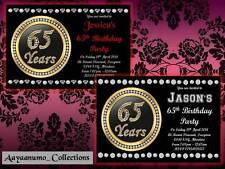 10 X Personalised 65th MEN WOMEN Birthday Party Invitations Invites Envelopes