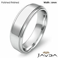 Men's Wedding Plain Band Flat Step Solid Ring 6mm 14k White Gold 7.4g 11-11.75