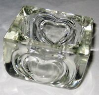 """Square 3 1/2"""" Clear Pressed Glass Candle Holder With Heart Shaped Design"""