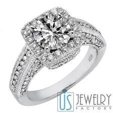 Vintage Round Cut Diamond Engagement Ring 18k White Gold 2.48ct (1.19) F/VS2-SI1