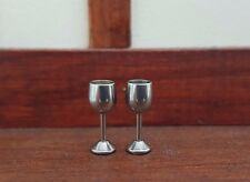 Miniature 2 silver metal goblets wine glasses 1:24th scale dolls house UK seller