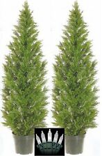 2 CEDAR OUTDOOR TOPIARY TREE 5' PLANT ARTIFICIAL CYPRESS PINE & CHRISTMAS LIGHTS