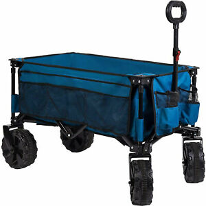 Timber Ridge Beach Garden Camping Folding Wagon Utility Cart w/Cupholder, Blue